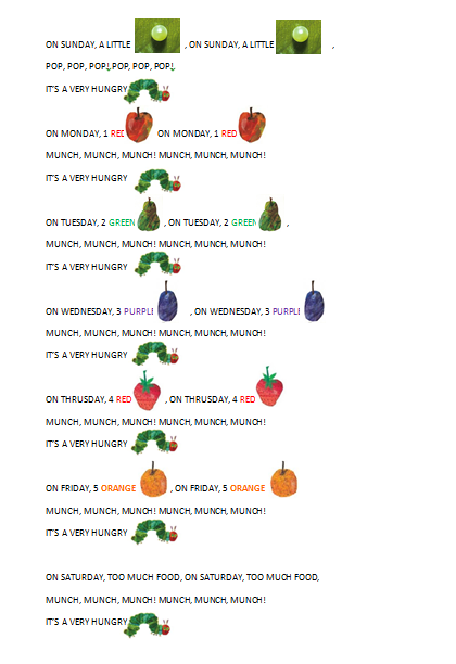 The Very Hungry Caterpillar Song   Our English Corner's Blog